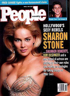 People Magazine April 5  1993 Sharon Stone Fred Savage Kim Basinger No Label