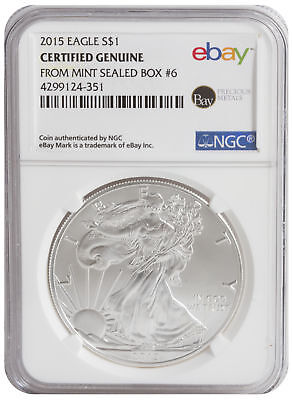 2015 $1 1oz Silver American Eagle -- NGC Certified from U.S. Mint Sealed Box 6!