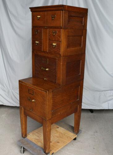 Antique Oak File Filing Cabinet – original finish - Stacking Sectional