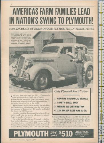 Plymouth car auto 1935 magazine print ad