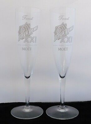 Super Bowl XXI 1987 Pair Of 2 NFL Media Promo Champagne Glasses (Toast Moet) Super Bowl Xxi