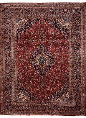Kashan Roten Teppich (Kashan 388 x 300 cm Handgeknüpfter Orient Teppich Perser in klassisch rot)