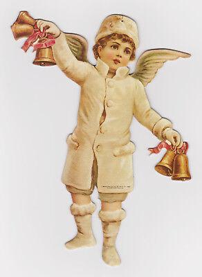 "VTG 1986 SHACKMAN VICTORIAN *SNOW ANGEL* BOY BELLS 9"" DIE-CUT CHRISTMAS ORNAMENT"