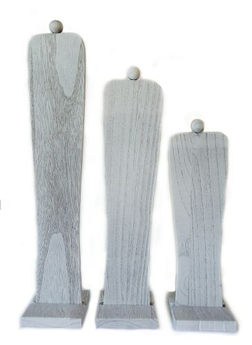 """3 Piece Tall Wooden Necklace Displays, Gray, 18"""" H, 15.5"""" H, and 12.5"""" H"""