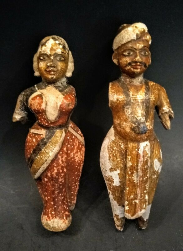 Antique Wooden Gangaur Couple - INDIA - 19th Century or Earlier