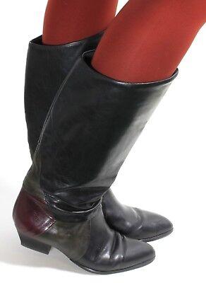 Leder Vintage Stiefel Damenstiefel Blogger Hipster Dolcis Weitschaftstiefel 39