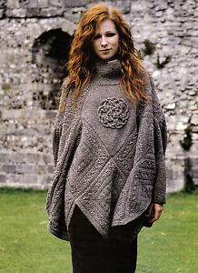 KNITTING PATTERN 9104 LADY'S PONCHO with Sleeves & Celtic Knot iCord Design  DK