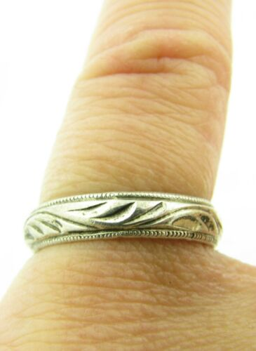 Vintage Art Deco Sterling Silver U Craft 3.5mm Eternity Band Ring Size 5.25