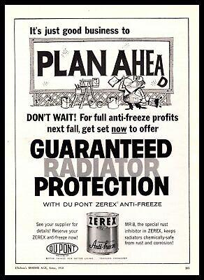 1958 Du Pont Zerex Anti-Freeze With MR-8 Billboard Cartoon Vintage Print Ad