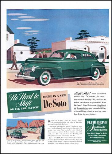 1941 De Soto De Luxe 2 Door Sedan Car Rocket Body vintage art print ad L71