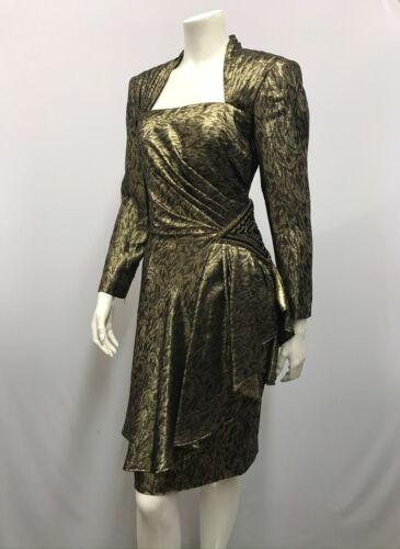 Vintage Loris Azzaro Dress Gold Lame 1 Beaded Side Open Back Size Small S