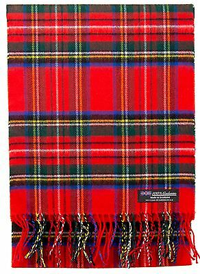Royal Stewart 100% CASHMERE Scarf Red Blue Check Plaid Tartan SCOTLAND Women