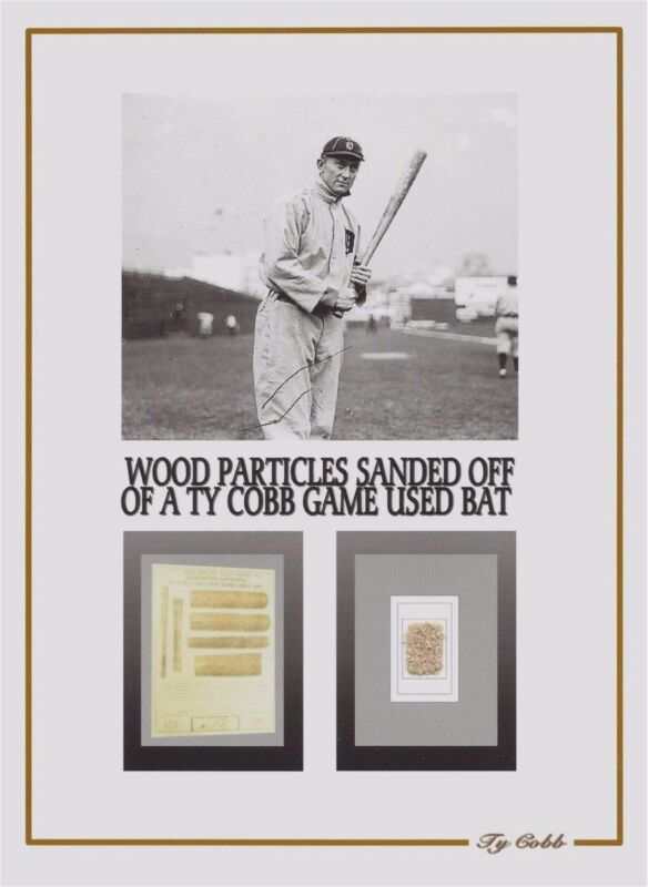 TY COBB personal game used baseball bat shavings, relic