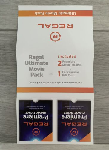 REGAL CINEMAS Gift Card Ultimate Movie Pack 10 Concessions 2 Premiere Tickets - $15.99