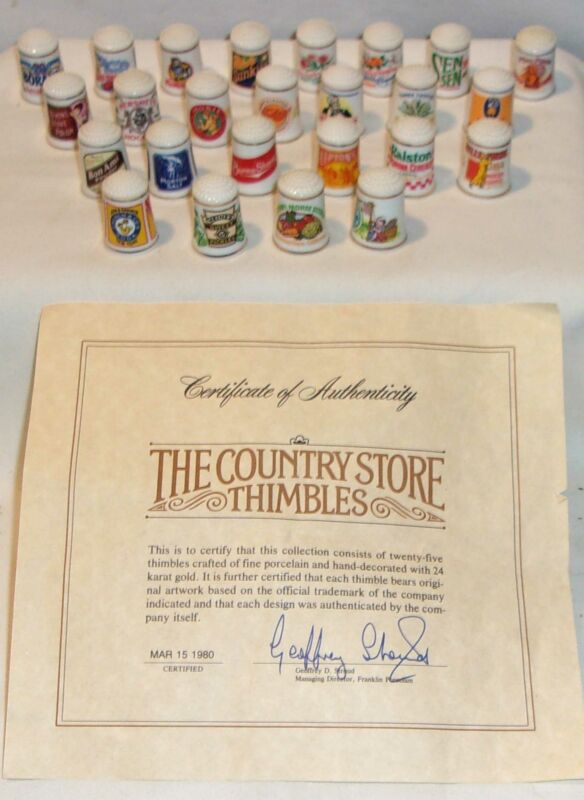 FRANKLIN MINT PORCELAIN OLD FASHION COUNTRY STORE COLLECTION THIMBLE SET - 25 -