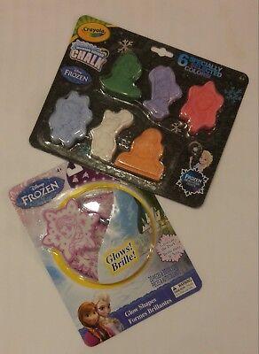 New Disney Frozen Fan Set Glow in the Dark Shapes & Sidewalk Chalk one of each ()