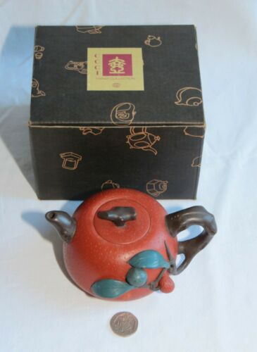Chinese Yixing Teapot fruit shaped with applied decoration