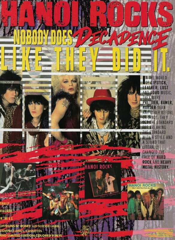 Hanoi Rocks Nobody Does Decadence Like They Did It 1989 8x11 Promo Poster Ad