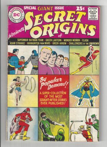 SECRET ORIGINS #1, 1961, DC Comics, VG- CONDITION COPY, SPECIAL GIANT ISSUE