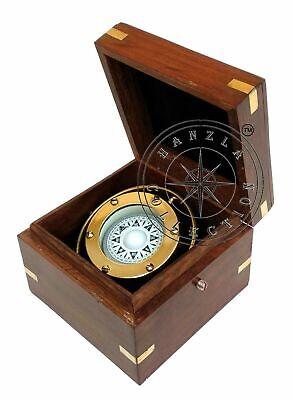 Antique Brass Gimbal in Wooden Box Maritime Nautical Ship/Boat Binnacle Compass
