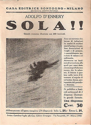Foglio pubblicitario:del volume SOLA!!  CASA EDITRICE SONZOGNO - Milano
