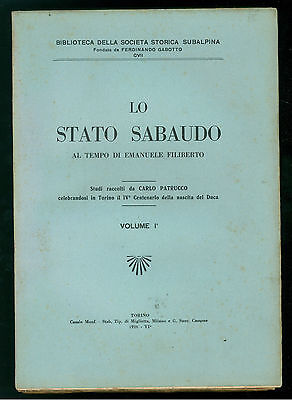PATRUCCO CARLO LO STATO SABAUDO AL TEMPO DI EMANUELE FILIBERTO 1928 3 VOLUMI
