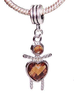 Little Girl Birthstone Charm - Brown November Birthstone Little Girl Baby Heart Dangle Bead fits Charm Bracelet