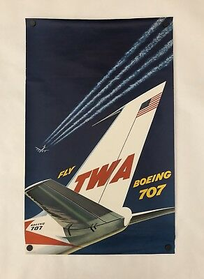 """Original 1950's Vintage FLY TWA - BOEING 707 Airline Travel Poster 24.8"""" x 39.8"""""""