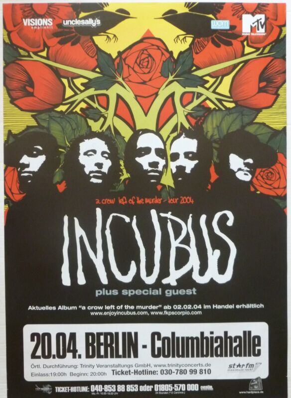 "INCUBUS ""A CROW LEFT OF THE MURDER TOUR 2004"" GERMAN CONCERT POSTER"