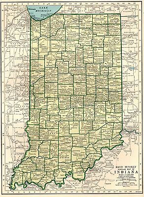 1943 Vintage INDIANA MAP Antique State Map of Indiana Gallery Wall Art 2970
