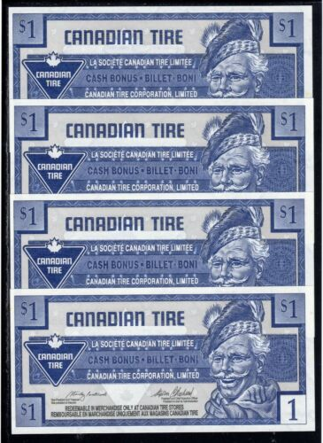 Canadian Tire 1 $ Cash Bonus Money 4 one kind in sequences good condition # 27