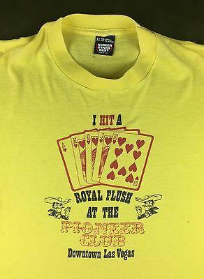 Vintage Mens Xl 80S 90S Screen Stars Las Vegas Pioneer Club Royal Flush T Shirt