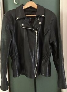 Ladies Leather Motorcycle Jacket Size 3x
