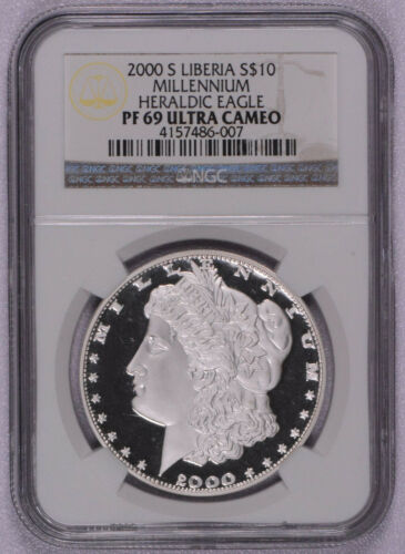 2000 Liberia Morgan .999 Silver Coin NGC Ulatra Cameo  PR69 10 Dollars