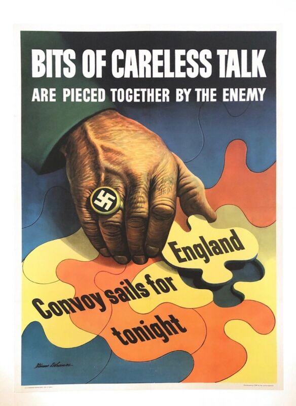 "WWII Original ""Bits of Careless Talk"" Poster byStevan Dohanos (Linen Backed)"