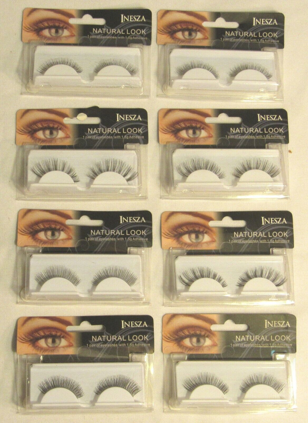 INESZA Natural Look Eyelashes with Glue  - Lot of 8