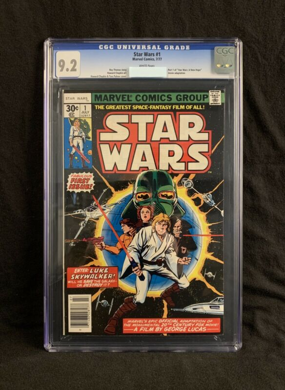 MARVEL STAR WARS # 1 CGC GRADED 9.2 ORIGINAL 7/76 FIRST PRINTING WHITE PAGES