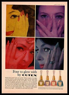 1959 Cutex Pearl Nail Polish Northam Warren New York Vintage Cosmetics Print Ad