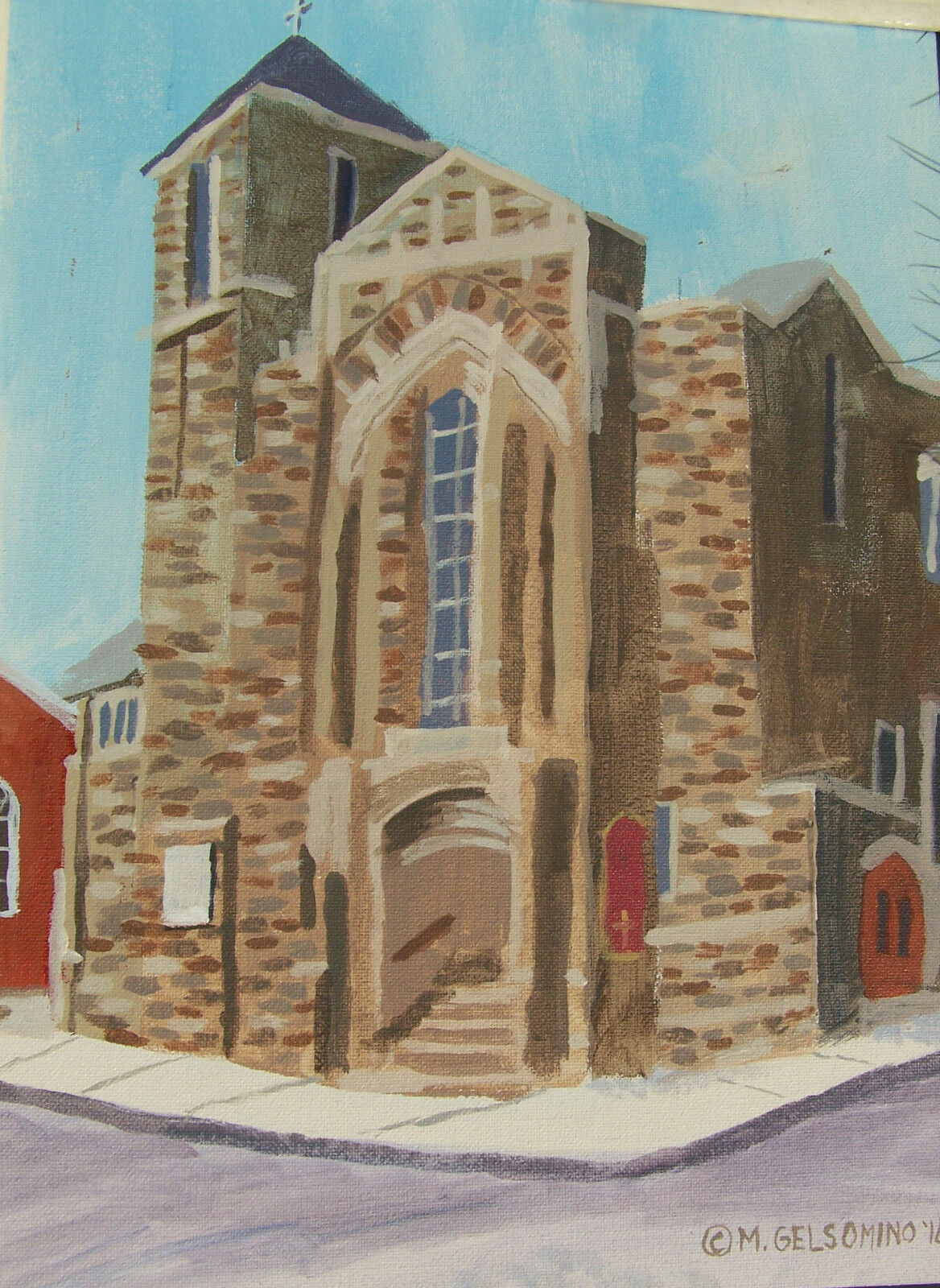 Old Stone Church, Acrylics By Marie Gelsomino 16 x12 , Framed - $35.00