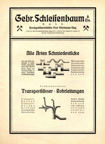 Schleifenbaum Bros. in Boschgotthardshutte XL 1922 German ad pipes forgings drum