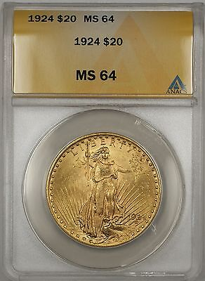1924 $20 DOLLAR ST. GAUDENS DOUBLE EAGLE GOLD COIN ANACS MS 64 BP