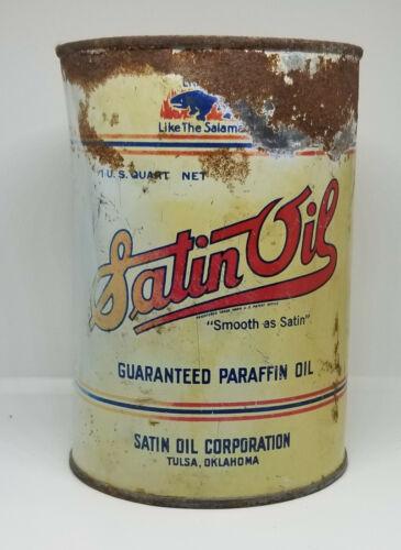 1930s SATIN OIL GUARANTEED PARAFFIN ONE QUART MOTOR OIL CAN TULSA OKLAHOMA