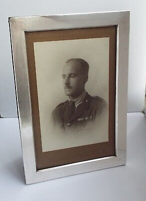 LOVELY LARGE GENUINE ENGLISH ANTIQUE 1915 SOLID STERLING SILVER PHOTOGRAPH FRAME