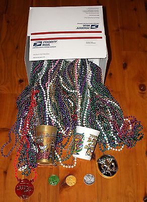 Huge Lot 15 Dozen 180 Color MARDI GRAS BEADS Cups Medallions Doubloons 10+ LBS!