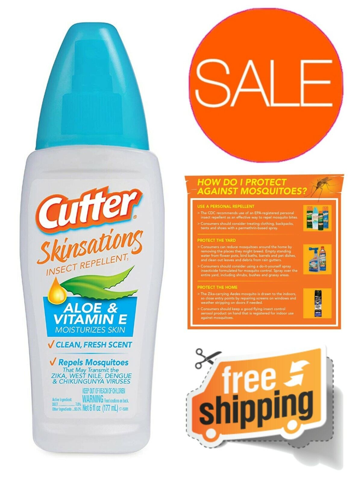 Cutter Skinsations Insect Repellent Pump Spray Non Oily or G