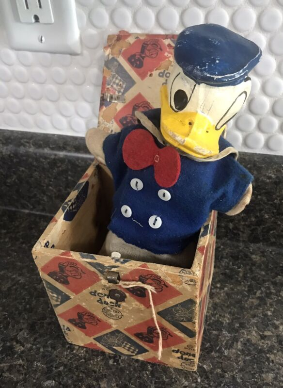 """1940s Spear Products Donald Duck """"Quack In The Box"""" Jack-in-the-Box Toy"""