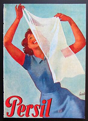 Detergente PERSIL foglio pubblicitario 1943 firmato BOCCASILE Moroni