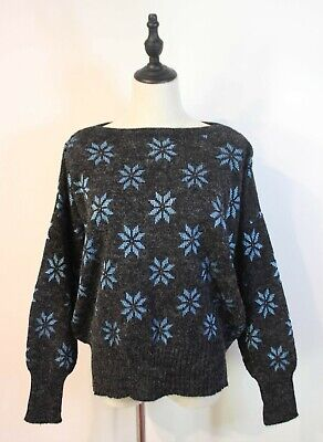 80s Sweatshirts, Sweaters, Vests | Women VINTAGE 80'S ~ Grey Electric Blue Snowflakes Woven New Wave Jumper Sweater M $33.37 AT vintagedancer.com