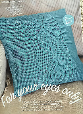 KNITTING PATTERN Cable Motif Cushion Cover Home Button Detail Cascade PATTERN