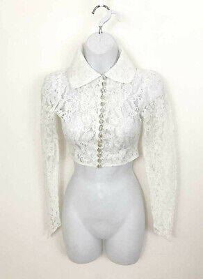 1930s Art Deco Style Jewelry Vtg 1930s Lace Wedding Bolero Jacket High Neck Button Front Fragile Wearable XXS $59.00 AT vintagedancer.com